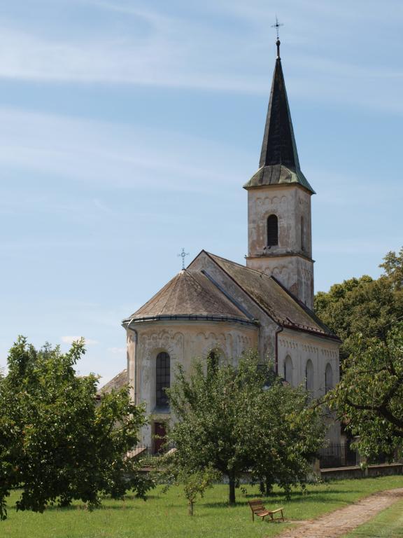 Nedatovaný východní pohled na kostel.